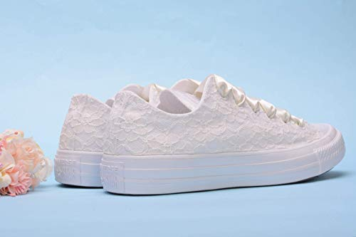 Ivory Wedding Sneakers For Bride, Lace