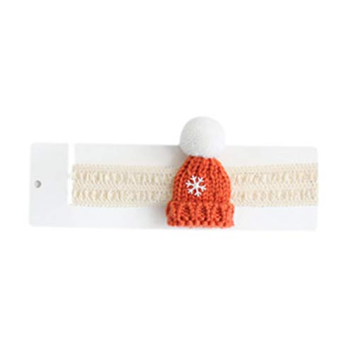 Vxhohdoxs Baby Neugeborene Weihnachten Häkel-Stirnband Niedlich Mini Cartoon Beanie Hat Haarband Orange