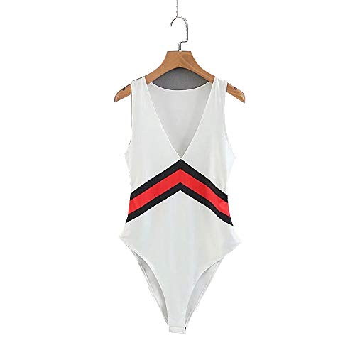 Bovendeel voor dames, mouwloos, diepe kraag, gymnastiekpak, body, colorblock, stripe High Cut jumpsuit stroompers rompers overhemd vest tank top dames badpak