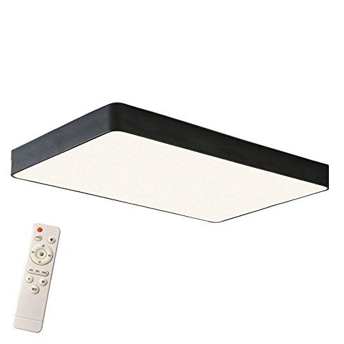 Froadp 64W LED Deckenleuchte Ultra-slim Energie Sparen Lampe 65×43×5cm Minimalistisches Design für Babyzimmer Küche Balkon Korridor Büro Esszimmer Wohnzimmer(Schwarz Rechteck, Dimmbar)
