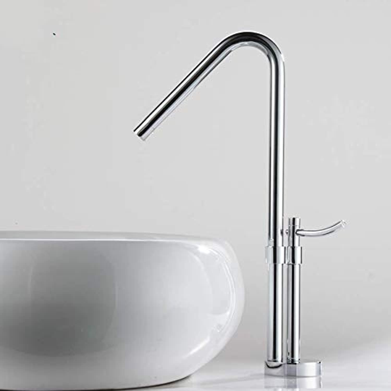 Gcbpwh Wasserhahn Moderner Badezimmer-Hahn, Messingchrom-Polnischer Einzelner Handgriff-Wasserbad-Bassin-Mischer-Hahn,