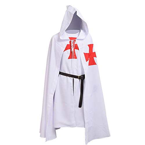 BLESSUME Médiéval Hospitalier Chevaliers Costume Tunique avec Manteau & Ceinture