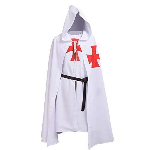 BLESSUME Mittelalterliche Hospitaller Rittertunika Mittelalterlich Chevalerie Ritter Tunika Umhang Kostüm (White 1)