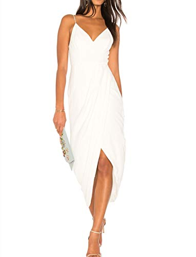 CMZ2005 Womens Deep V Cross Slit Long Party Dress Elegant Spaghetti Straps Maxi Dress 71730 (M, White)