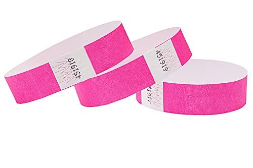 Cintapunto – Paquete de 1000 unidades – Pulseras de entrada Tyvek, pulseras para festivales, pulseras Tyvek, pulseras de control Tyvek (rosa neón)