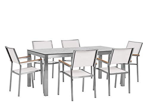 Beliani 6 Seater Garden Dining Set Marble Veneer HPL Top White Chairs Grosseto