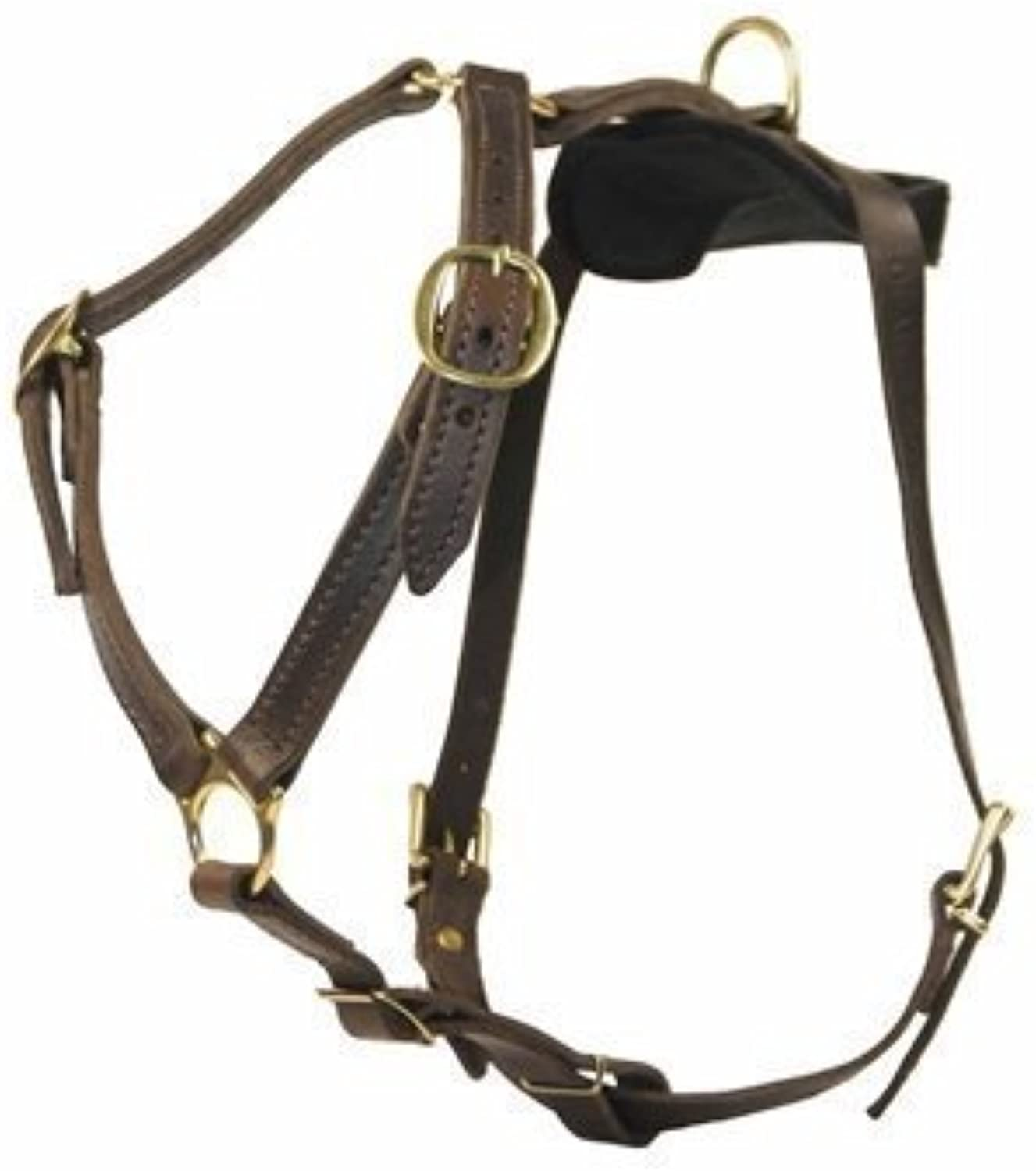 Dean and Tyler Tyler's Choice Solid Brass Hardware Leather Dog Harness, Brown, Medium  Fits Girth Size  28Inch to 35Inch