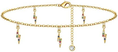 Yoosteel Lightning Ankle Bracelets for Women Girls 14K Gold Filled Colorful Boho Jewelry Tiny product image