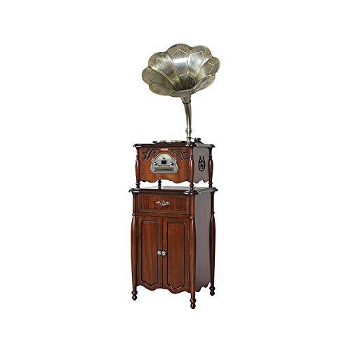GOM draaiplateau met houten luidspreker, platenspeler met 3 snelheden, hifi-stereo-audio, RCA-uitgang, Bluetooth-verbinding, cd-speler, radio, USB-aansluiting