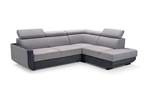 MOEBLO Ecksofa mit Schlaffunktion mit Bettkasten Sofa Couch L-Form Polstergarnitur Wohnlandschaft Polstersofa mit Ottomane Couchgranitur - VITAL (Grau,...