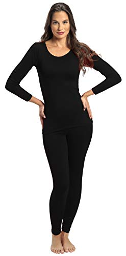 Rocky Thermal Underwear for Women Fleece Lined Thermals Women's Base Layer Long John Set (Black - Midweight - Large)