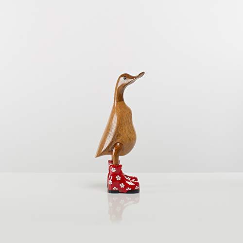 Rikmani - Holzfigur Ente Stiefel Rot Geblümt - Handgefertigte Dekoration aus Holz Geschenk Figur 26 cm