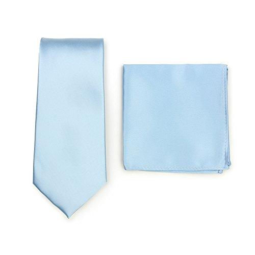 Puccini Krawatte + Einstecktuch │ Einfarbig/Uni in ausgewählten Farben │ Handarbeit (Hellblau)