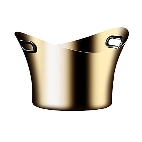 PEIHAN Cubo de Hielo de Acero Inoxidable, Enfriador de Vino espumoso, Enfriador con Dos accesos Laterales, Enfriador de Botellas Negro/Dorado, diámetro Inferior: 22 cm, Calibre: 33,5 cm