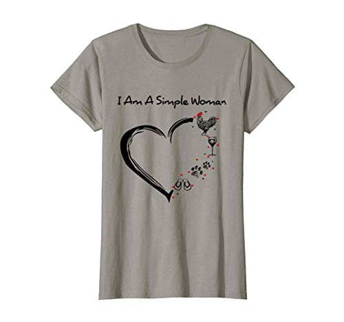 Womens I Am A Simple Woman Chicken Wine Dogs Flip Flop T-Shirt