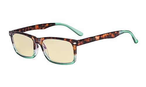 Eyekepper Readers UV-bescherming, anti-schittering bril, Anti blauwe stralen, lente scharnieren Computer leesbril without strength Tortoise-groen Frame-bb60 Lens