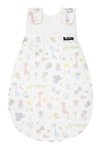 Alvi Baby Mäxchen Außensack Exclusiv I Baby-Schlafsack mitwachsend & atmungsaktiv I Kinderschlafsack waschbar I leichter Schlafsack ÖKO-tex geprüft, Größe:62/68, Design:Animals bunt