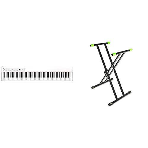 【セット買い】KORG 電子ピアノ D1 88鍵盤 ホワイト D1 WH ダンパーペダル、譜面立て付属 同音連打可能 & Gravity グラビティ X型キーボードスタンド Keyboard Stand X-Form double black GKSX2