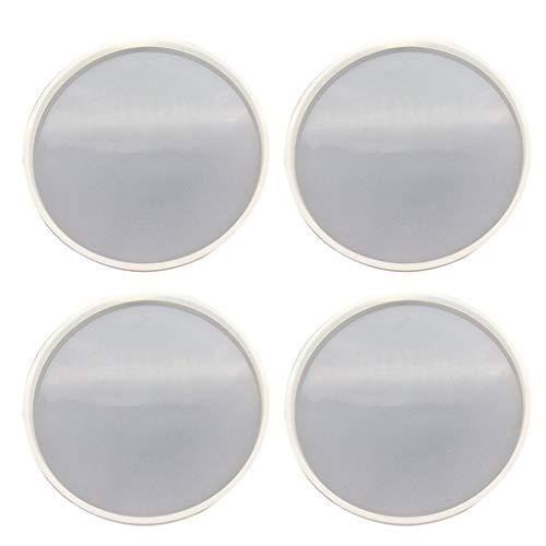 JIUYECAO Molde redondo de silicona de cristal epoxi DIY (4 piezas) redondo de silicona con pegamento de gota de cristal