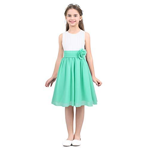 iEFiEL Bambina Vestito Lungo Ragazza Principessa Abiti da Sposa Bambine Matrimonio Nozze Damigella d'Onore Bianco Rosa Verde Elegante 4-14 Anni Verde 12Anni