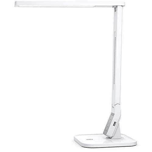 TaoTronics LED Desk Lamp with USB Charging Port, 4 Lighting Modes with 5 Brightness Levels, 1h Timer, Touch Control, Memory Function, White, 14W, Official Member of Philips Enabled Licensing Program