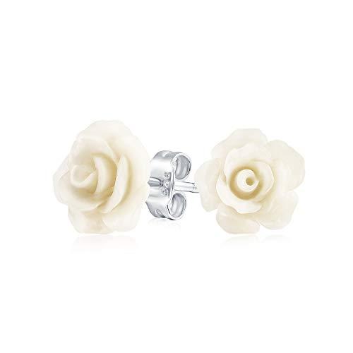 Romantische zarte Floral3D Craved Creme aus weißer Blume Ohrstecker für Frauen für Teen für Mutter Silber vergoldet