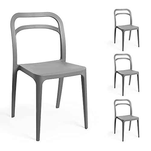 VonHaus Grey Dining Chairs Set of 4 – Plastic Indoor or Outdoor Dining Chairs, Minimalist Design, Practical Stackable Chairs for Kitchen, Dining room, Garden, Patio, Balcony