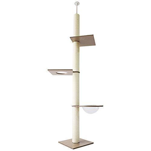 GBY Tongtianzhu Katzenklettergerüst für große Räume Katzennest freistehend Sisalsäule Katzenkratzsäule Katzenhaus Katzenbaum geeignet für Innen 2,5-2,8 * 0,4 * 0,4 * 0,4 m