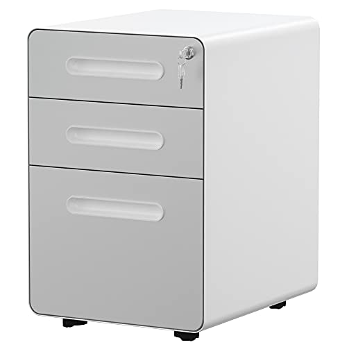 YITAHOME 3-Drawer Rolling File Cabinet, Metal Mobile File Cabinet with Lock, Filing Cabinet Under Desk fits Legal/Letter/A4 Size for Home/Office, Fully Assembled-Gray and White