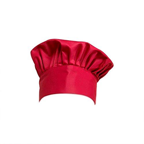 Dosige Chef Hat Hotel Camarero Suministros de Cocina Tienda de Pasteles Gorro de Tela Hombres y Mujeres Chef Trabajo Tapa Plisada Tapa de Seta(Rojo Vino)