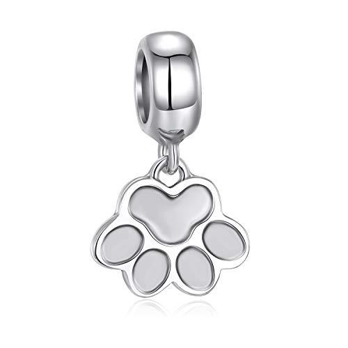 Abalorio de plata de ley 925 con diseño de huella de perro, compatible con pulseras europeas