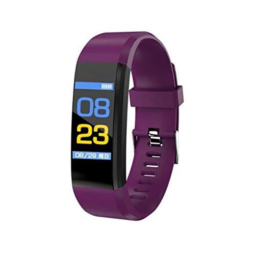 Plus OLED Color Pantalla De Color Ritmo Cardíaco Monitor De Presión Arterial Aptitud Impermeable Recargable Pulsera Inteligente para Xiaomi iPhone (Color : Purple)