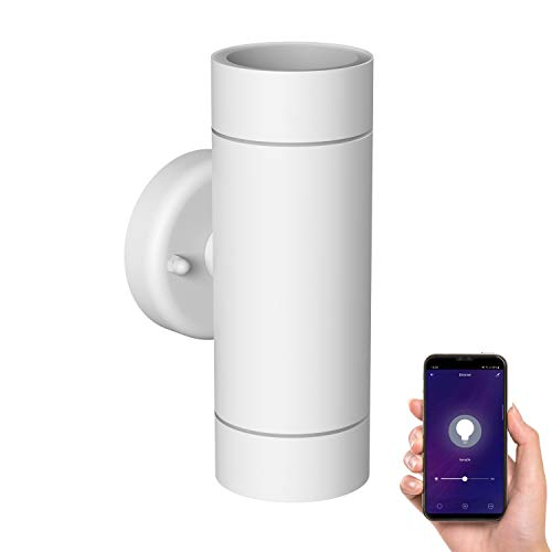 ledscom.de Lámpara de Pared WEDO para el Exterior, Blanca, Acero Inoxidable, IP44, a Dos Bombillas, Up & Downlight, Incluido 2 GU10 LED Bombillas para Amazon Alexa, dimmbar Cada 380lm Blanca cálida