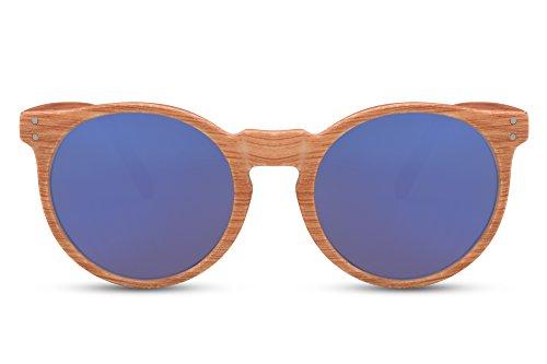 Cheapass Gafas De Sol Madera Redondas Marrones Azul Espejadas UV-400 Retro Vintage Hombres Mujeres