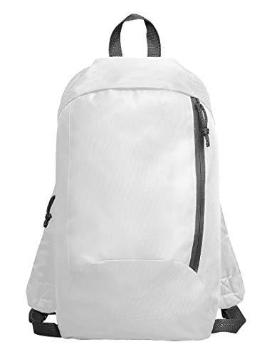 Kinder Jungen Mädchen Wasserdicht Klein Rucksack Uni Hell Bunt mit Reißverschluss Tasche (7154 White)