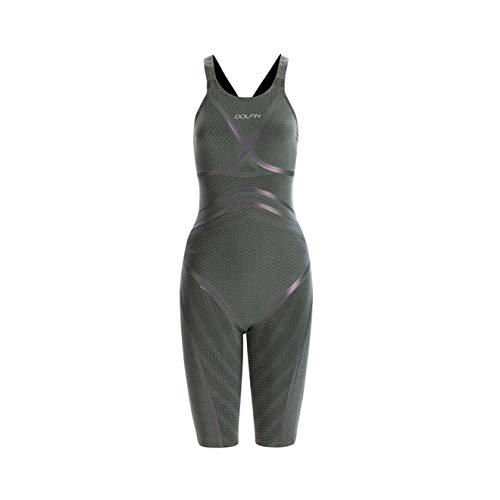 DOLFIN Women's Lightstrike Flex Leg Long Close Back Tech Suit,Silver (428),28L