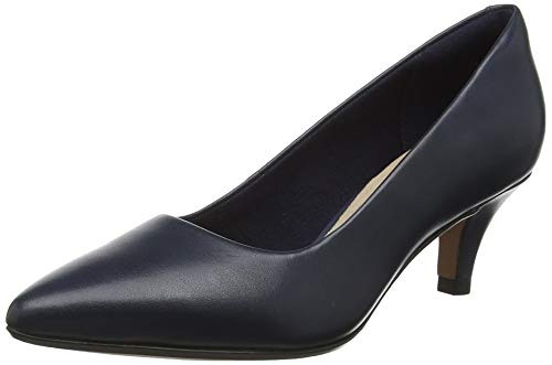 Clarks Damen Linvale Jerica Pumps, Blau (Navy Leather), 42 EU