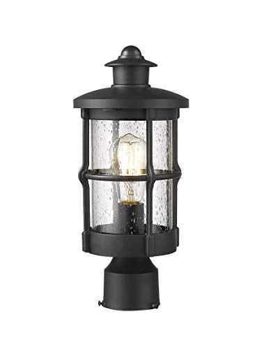 Rosient Outdoor Post Lights, Exterior Post Sconce, Outdoor Post Lamp, Pathway Post Lighting Fixture, Patio Pillar Light in Black Finish with Seeded Glass