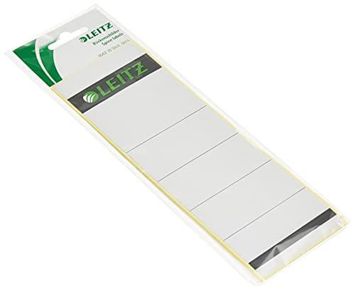 Leitz Rückenschild selbstklebend für Standard- und Hartpappe-Ordner, 10 Stück, 80 mm Rückenbreite, Kurzes und breites Format, 62 x 192 mm, Papier, grau, 16420085