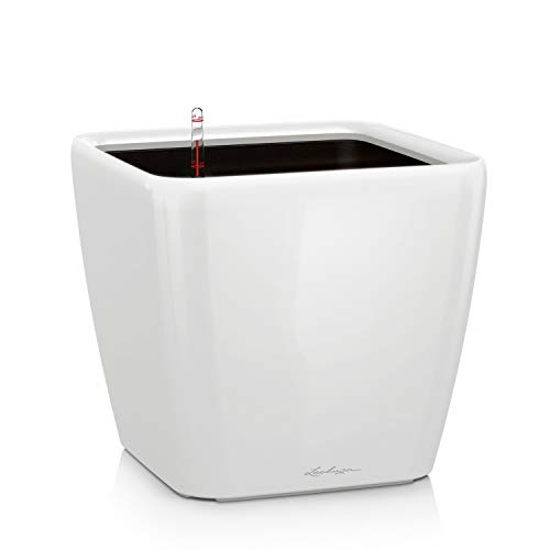 LECHUZA QUADRO Premium LS 28, Weiß Hochglanz, Hochwertiger Kunststoff, Inkl. Bewässerungssystem, Herausnehmbarer Pflanzeinsatz, Für Innen- und Außenbereich, 16140