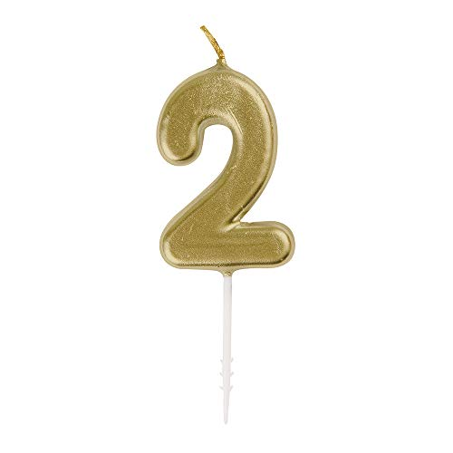 Unique Party 19952 Mini Gold Number 2 Pick Birthday Candle
