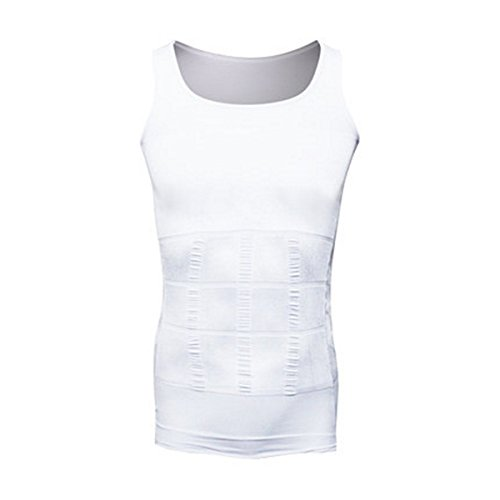 Men s Compression Shirt - Tummy Slimming Body Shapers– Abdomen Waist Belly Fat Compressions Vest- Elastic Shapewear for Men– Fit Body Tank for Weight Loss, Yoga, Running, Workout – White, M