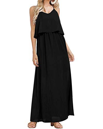 Style Dome Maxikleid Damen Elegant Ärmellos Kleider Chiffon Träger Langes Strand Sommerkleid Schwarz-993236 M