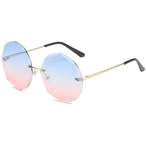hqpaper Gafas de sol redondas sin montura de metal con ribete poligonal-Azul y rosa con marco dorado