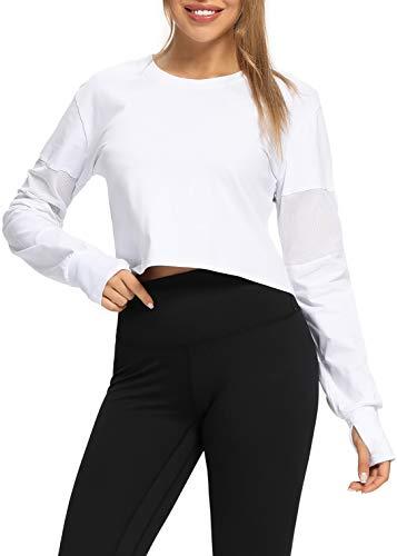 Muzniuer Long Sleeve Crop Top White Crop Top Long Sleeve Yoga Tops for Women Thumb Hole Sports Running Shirt Workout Top Activewear White M