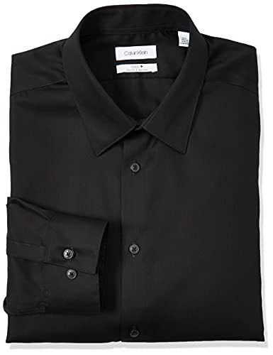 Calvin Klein Men's Non Iron Slim Fit Solid Point Collar Dress Shirt, Black, 15.5' Neck 34'-35' Sleeve