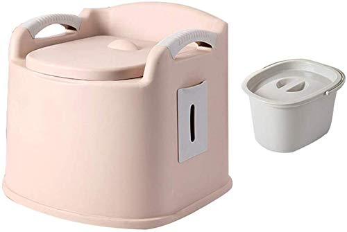 FREIHE Draagbaar toilet, afneembare camping commode, mobiele WC dubbele deksel deodorant, met kussens rugleuning, veilig en comfortabel
