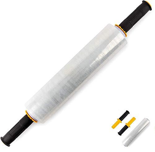 Stretchfolie 40 cm, Transparent inkl. Handroller, Start-Stopp-System (7,5 x 13 x 40 cm), 1,25 kg