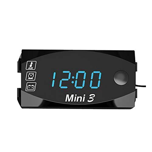 Nanyaciv - Reloj de moto con termómetro y voltímetro de mesa con pantalla digital 3 en 1, resistente al agua, IP67 con pantalla digital de gran pantalla universal