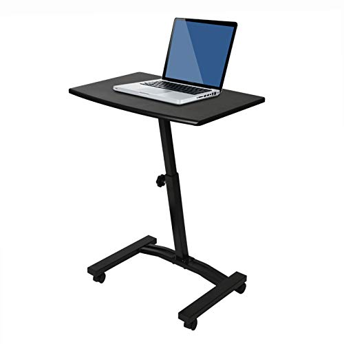Seville Classics Height Adjustable Sitting Mobile Laptop Desk Cart Ergonomic Table, Flat (23.6'), Jet Black